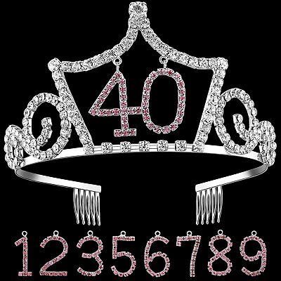 Crystal Rhinestone Happy Birthday Tiara Headband Crown Replaceable Age Numbers