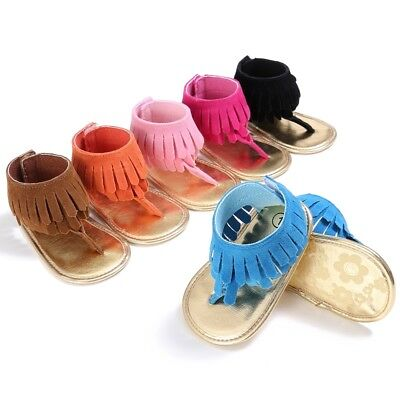 Baby Girl Tassel Sandal Summer Anti-slip Shoes Toddler Prewalker Beach Flip Flop
