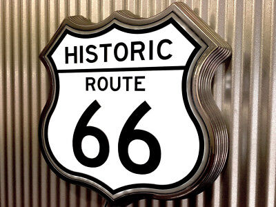 Route 66 Historic Light Up Retro Sign old chrome led ALL NEW !!!