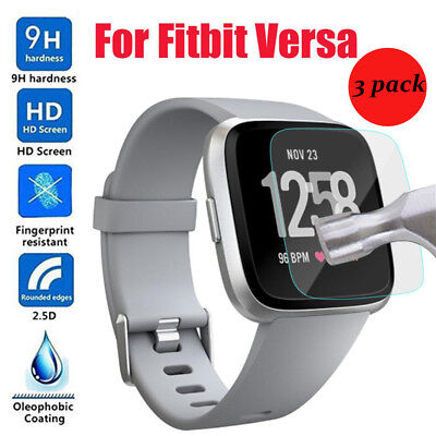 3PC HD Tempered Glass LCD Screen Protector Film For Fitbit Versa Smart Watch New