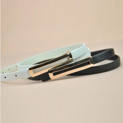 Women Skinny Thin Buckle Leather Waist Belt Narrow Waistband For Dress Costumes