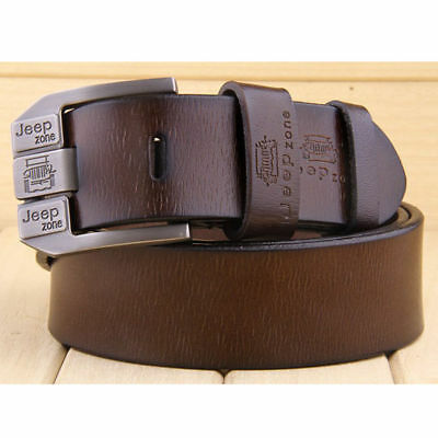 Men's Genuine Cow Leather Waistband Waist Belt Strap Girdle Smooth Buckle New AU