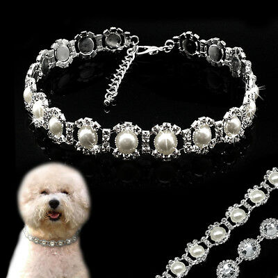 Bling Rhinestone Crystal Dog Pet Necklace Collar Diamond Pearls Puppy Collars