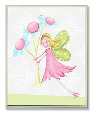 fairy princess with daisies rectangle wall plaque