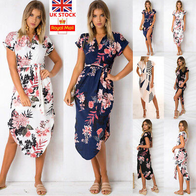 Women Boho Floral Short Sleeve Midi Dress Summer Beach Party Holiday Sundress