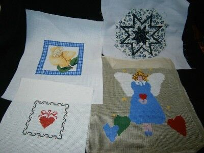 3 Completed Cross Stitch Pictures & 1 Patchwork Star For Framing Or Cushions.