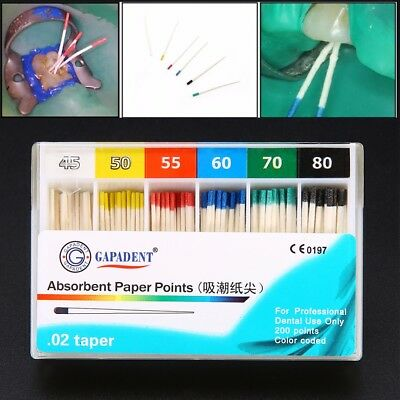 200Pcs Dental Material Absorbent Paper Points Dentist Products 0.02 Taper 45-80#