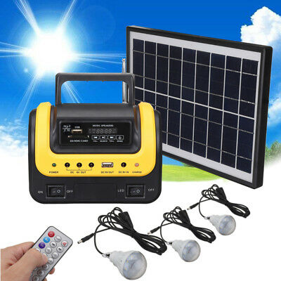 Solar Panel Generator Power System USB Charger 3 Bulbs MP3 Outdoor Camping UK