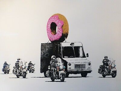 Banksy Framed Canvas Street  graffiti Urban  Art Print police doughnut security