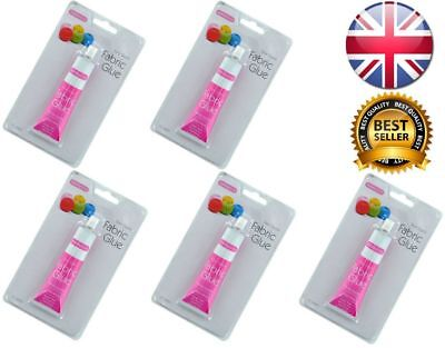 5 x FABRIC GLUE 50 ML TUBE SEW QUICK EXTRA STRONG ADHESIVE BONDS QUICKLY HEMMING