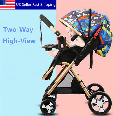 Baby Stroller Two-way Portable Travel System High-view Pushchair Infant Carriage
