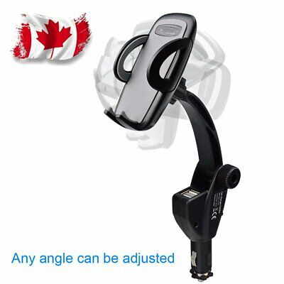 Dual USB Car Charger Holder Mount Cigarette Lighter Chargers CANADA STOCK
