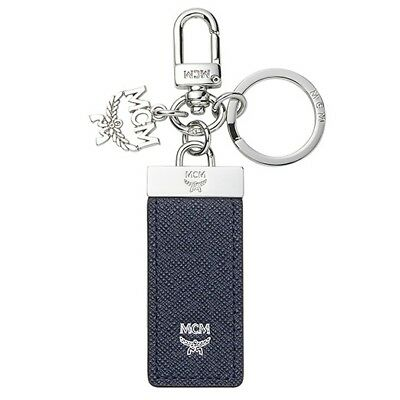 Authentic MCM New Bric Navy Key Ring Men Car Smart Key Holder MXZ6SLL60VY NWT