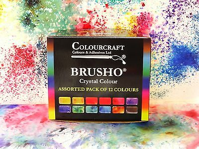 Brusho® 12 x 15g Starter set Non Toxic ***+FREE WAX RESIST STICKS!!!***