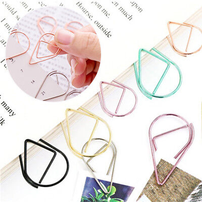 10Pcs Mini Metal Paper File Clips Water Drop Bookmarks Office School Stationery