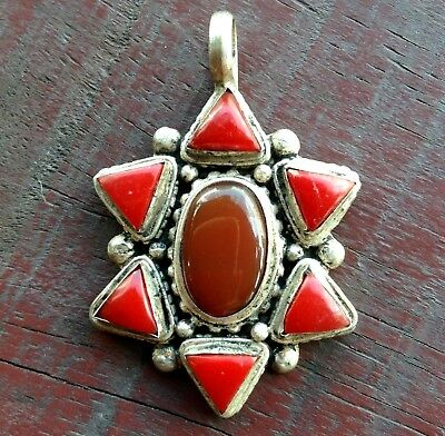 Antique Handmade Red Coral And Carnelian Brass Silver Om Amulets Nepal Pendant