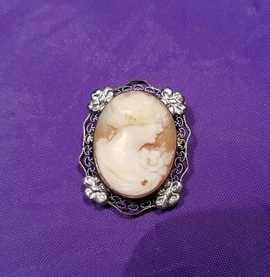 Antique Raised Cameo Filigree Sterling Silver Brooch Pin Victorian Floral