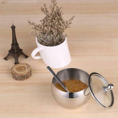 Durable Stainless Steel Sugar Bowl with Lid & Sugar Spoon Seasoning Contain P2F7