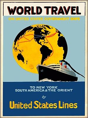 World Travels United States Lines Vintage Travel Oceanliner Cruise Ship Poster