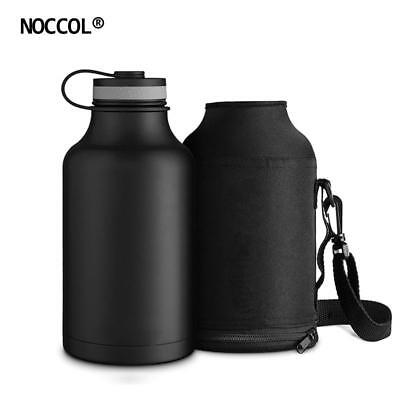 NOCCOL 64oz Outdoor Water Bottle With Bag Stainless Steel Vacuum Healthy Sport D