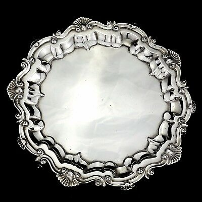 Antique Solid Sterling Silver Salver / Card Tray, Chester 1909.
