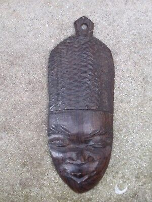 Vintage Small Ebony Carved Wood African Figure Wall Face Mask