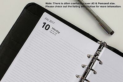 A5 Refills 2018 - 2019. Week View, Day per Page, 2 Days per Page. (Fits Filofax)