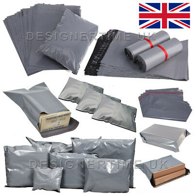 "10""x14"" - 250x350mm Grey Mailing Bags Self Seal Strong Postage Postal Poly Pack"