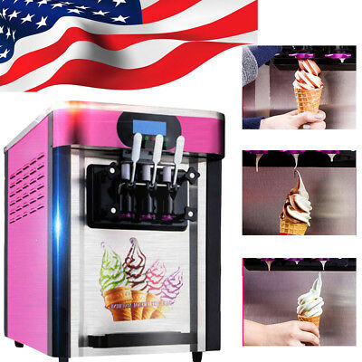 USA STOCK! 3 Flavor Commercial Frozen Soft Ice Cream Yogurt Cone Machine 20L/H