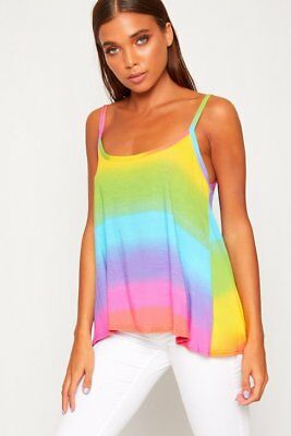 Ladies Womens Vibrant Rainbow Colors Print Summer Strappy Cami Vest Tee Top 8-26