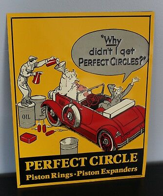 Perfect Circle Piston Rings Expanders Embossed Metal Sign Auto Shop Garage Decor