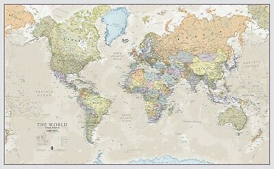 Giant World Megamap Large Wall Map Paper With Front Sheet