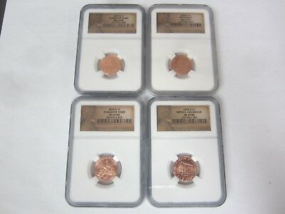 LOT OF 4 2009 Lincoln Formative Years, Presidency, Birth Childhood Cent NGC MS65