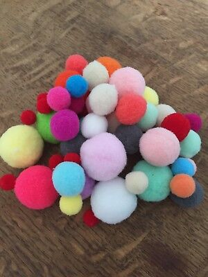 Fluffy Pom Poms Assorted Colours and Sizes x20 x50 x100 Top Quality UK