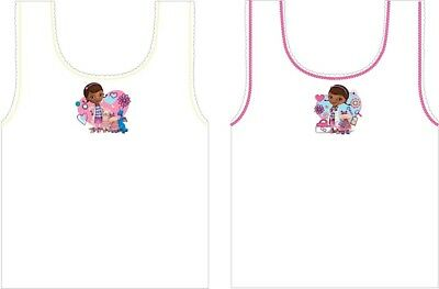 New 100% Cotton Girls Disney Doc McStuffins pack of 2 Vest 1.5-5 Years