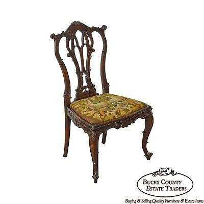Rococo Style Antique Carved Mahogany Needlepoint Side Chair