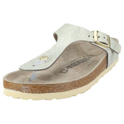 a8555d6624a Birkenstock Gizeh Washed Metallic Narrow Womens Green Gold Leather Sandals