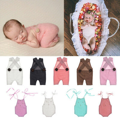 Newborn Baby Girl Boy Crochet Knit Costume Photo Photography Prop Romper Outfits