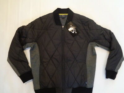 NWT Mens Oakley Echo Bomber Jacket Black/Grey Size Small