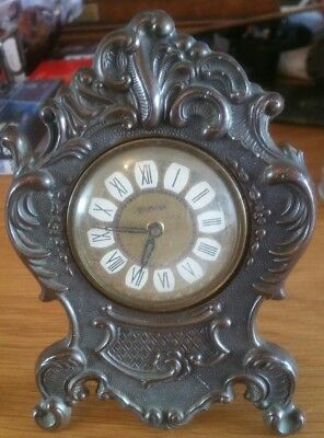 Beautiful Small Antique  French style  Embossed Bronze Carriage Mantel Clock