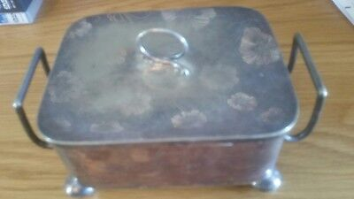 Beautiful Antique Victorian Walker And Hall Silver Plated Chased Butter Dish