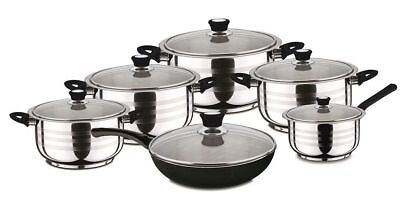 Luxus Induction Pot Set 12-Piece Stainless Steel Pots and Frying Pan Casserole