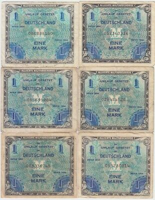 """Germany Banknote -Allied Occupation P192a Dealer Lot 6 X 1 Mark 1994 """"F"""", AVG-F+"""