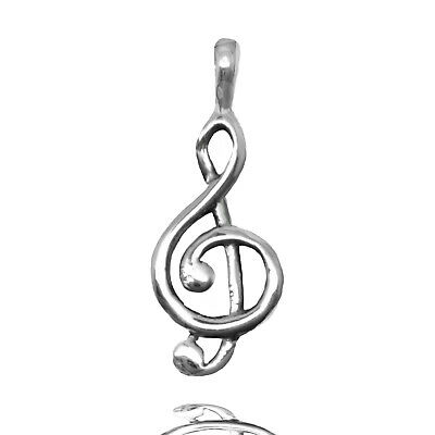 925 solid Sterling Silver Treble G Clef de Sol Music symbol pendant or necklace