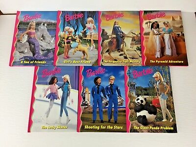 Barbie and Friends - Lot of 7 - Pink Grolier Hardcover Chapter Books