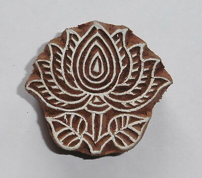 Lotus Flower Shaped 5.7cm x 5.1cm Indian Hand Carved Wooden Printing Block (LT4)