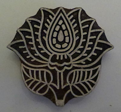 Lotus Flower Shaped 6.2cm x 6.7cm Indian Hand Carved Wooden Printing Block (LT5)
