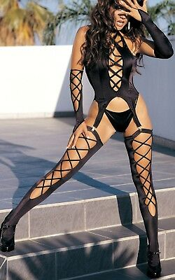 6 Piece Black Sexy Play Suit Set Inc Stockings, Suspenders And Thong Size 12-14