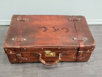 Large Vintage Leather Suitcase