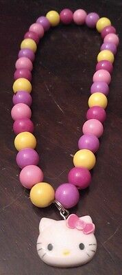 Hello Kitty Kids Necklace - Pink/purple/yellow Beads